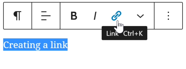 creating a link in WordPress