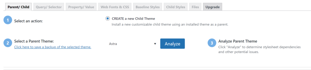 Creating a Child Theme with the Child Theme Configurator