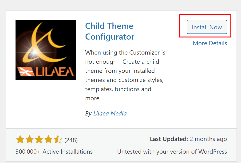Install Now Child Theme Configurator